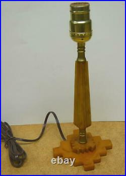 Vintage 1930'S Art Deco BAKELITE CATALIN TABLE LAMP BUTTERSCOTCH
