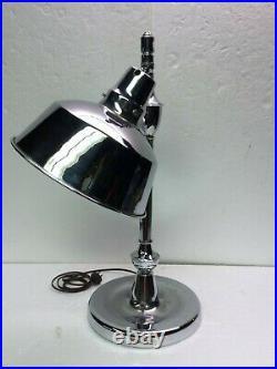 Vintage 1930's Apollo Electric Chicago Chrome Art Deco Table Desk Lamp Jeweler