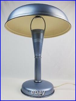 Vintage 1930's Art Deco mushroom table lamp single bulb metallic blue (painted)