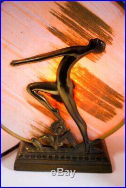 Vintage 1930s Art Deco Nude Bronze Lamp Rare