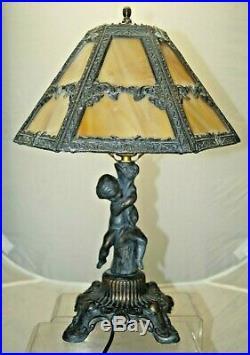 Vintage 1950s Era Bronze Figural Slag Glass Art Deco Electric Table Lamp