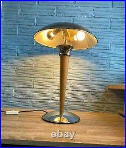 Vintage 1980's Art Deco Style Lamp Table Atomic Design Mushroom Metal Chrome