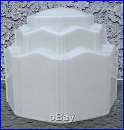 Vintage 3 Tiered White Glass Art Deco SkyScraper Pendant Light Lamp Shade