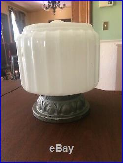 Vintage 40s art deco Glass Ceiling Light Lamp Fixture Cast Iron Base antique