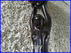 Vintage ART DECO LADY HOLDING Amber Glass BALL Table LAMP Nouveau Metal 16