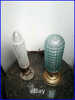 Vintage/Antique 1930s 1940s Art Deco Glass Bullet Torpedo Lamps