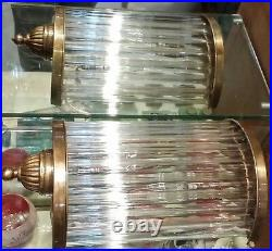 Vintage Antique Art Deco Brass & Glass Rod Ship Light Fixture Wall Sconces Lamp