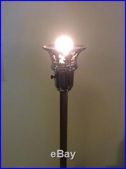 Vintage Antique Art Deco Brass Metal Floor Lamp Torchier Lady Athena Base Mod De