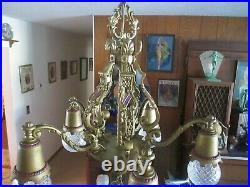 Vintage Antique Art Deco Chandelier Lamp 5 Light Fixture
