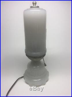 Vintage Antique Art Deco Glass Table Light Desk Lamp Beautiful