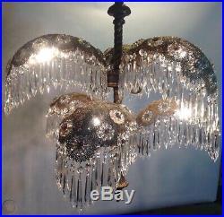 Vintage Antique Art Deco Nouveau Palm Frond Crystal Filigree Chandelier 6 Lamp