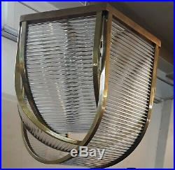 Vintage Antique Art Deco Ship Glass Rod Ceiling Fixture 7 Light Chandelier Lamp