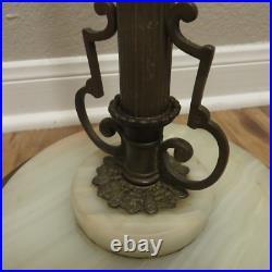 Vintage Antique Art Nouveau Deco Standing Floor Lamp w Marble and Cast Iron Base