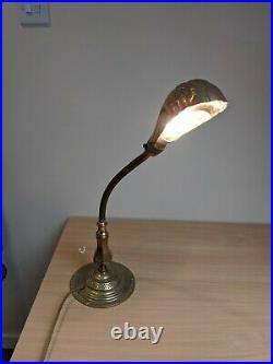 Vintage Art Deco, 1920s Brass Adjustable Bendy Table Lamp With Shell shade