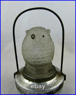 Vintage Art Deco 1930s Glass Owl Battery Operated Owl Lamp Made by PIF Co LAYBY