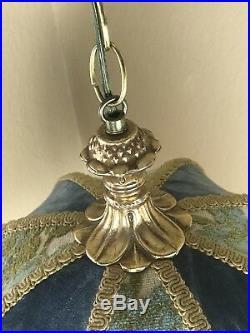 Vintage Art Deco Antique French Nouveau Boudoir Fringe Hanging Pull Switch Lamp