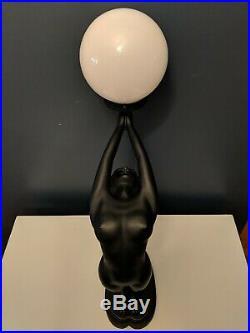 Vintage Art Deco Art Nouveau Nude Woman Table Lamp Matte Black Hollywood Regency