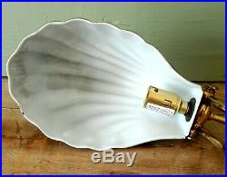 Vintage Art Deco Attractive Brass Desk Table Lamp Light Base Scallop Clam Shell