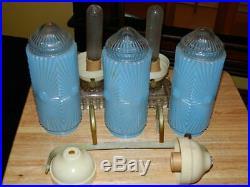 Vintage Art Deco Blue Glass Torpedo Boudoir Headboard and Table Lamps