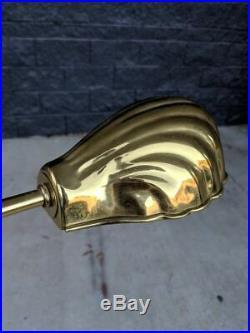 Vintage Art Deco Brass Adjustable-Height Floor Lamp Clam Shell Shade Light Alsy