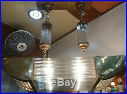Vintage Art Deco Brass & Glass Rod Ceiling Fixture 6 Light Ship Chandelier Lamp
