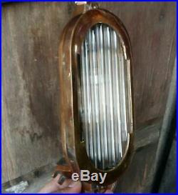 Vintage Art Deco Brass & Glass Rod Wall Ceiling Fixture Sconces Ship Light Lamp