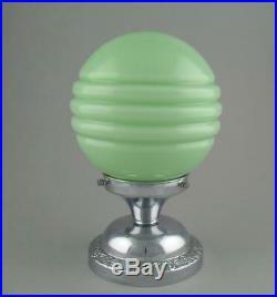 Vintage Art Deco Cased Green Glass Globe Ceiling Light Shade Orig Chrome Fitting