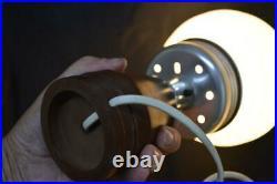 Vintage Art Deco Chrome Brown Bakelite Table Lamp 12.5 x 6.5 original finish