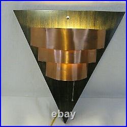 Vintage Art Deco Copper Light Wall Sconces Lamps Triangle Mid Century 16