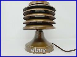 Vintage Art Deco Coulter Machine Age Copper Table Lamp Original