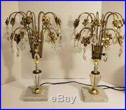Vintage Art Deco Crystal Waterfall Table Lamps, Hollywood Regency Boudoir Lamps