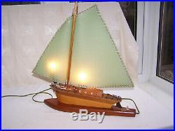 Vintage Art Deco Desk Lamp Wooden Sailing Boat Ship Yacht Table Light V Good