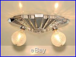 Vintage Art Deco Geometric Space Age Skyscraper Flush Ceiling Light Fixture Lamp