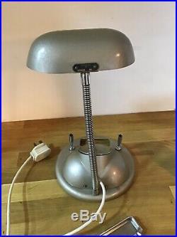 Vintage Art Deco Goblin Desk Lamp Clock Pen Holder Ashtray H650 Gold