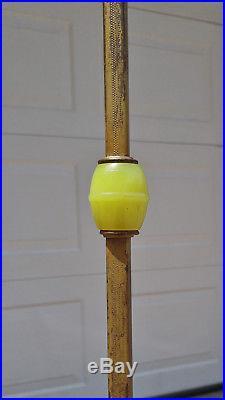 Vintage Art Deco Gold Cast Iron Figural Lady Bridge Arm Floor Lamp, Green Glass