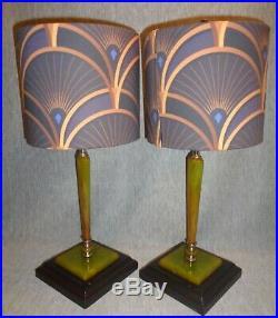 Vintage Art Deco Green Bakelite Lamps (pair) withDesigner Fabric Shades