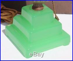 Vintage Art Deco Green Glass Skyscraper Table Lamp Night Light #1