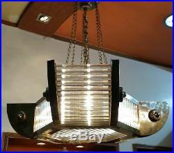Vintage Art Deco Hanging Ship Glass Rod Ceiling Fixture 6 Light Chandelier Lamp