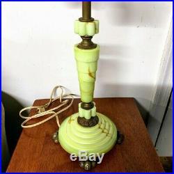 Vintage Art Deco Houze Lamp Houze Glass Slag Agate Vaseline Glass Claw Foot Base