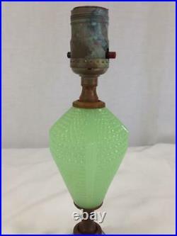 Vintage Art Deco Jadeite Green Glass Base Electrical Lamp