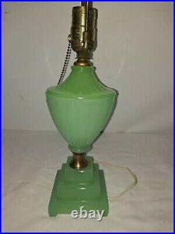 Vintage Art Deco Jadeite Lamp, Beautiful Example Excellent Condition