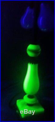Vintage Art Deco Jadeite Marble Swirl Cast Table Lamp Uranium Vaseline Glass