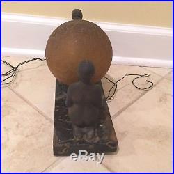 Vintage Art Deco Kneeling Nude Ladies Spelter Desk Lamp