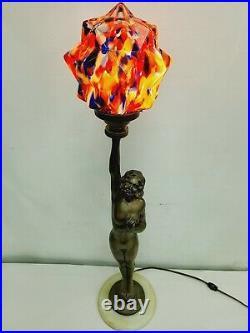 Vintage Art Deco Lady Woman Nude Figural Table Lamp Original W Superb Shade