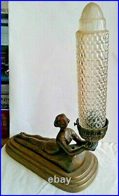 Vintage Art Deco Lamp Lady Nymph Laying Down Lamp Body Bronze with shade