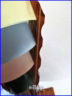 Vintage Art Deco Lamp Tiered Shade Segmented Wood Metal Bands Pull Chain 13.5 H