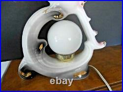 Vintage Art Deco Lampelectricceramic Pink Bird Round Globe