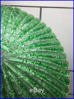 Vintage Art Deco Light Green Pressed Glass Lamp Shade 12-1/8 In Diameter #51
