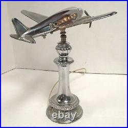 Vintage Art Deco Metalcraft Airplane Table Lamp A438 with COCKPIT & CABIN LIGHTS
