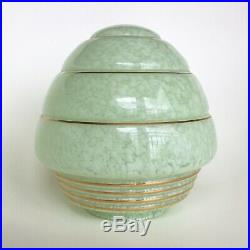 Vintage Art Deco Mid Century Green Mottled Glass Lamp Shade Flame Pendant Light